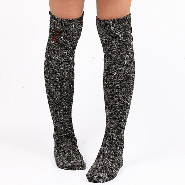 Casual Buttons Snowflake Point Knit StockingsACCESSORIES<br><br>Color: BLACK; Type: Stockings; Group: Adult; Gender: For Women; Style: Fashion; Pattern Type: Striped; Material: Spandex; Length(CM): Heel to edge length:50CM;Foot length:20CM; Width(CM): 9.5CM; Weight: 0.110kg; Package Contents: 1 x Stockings(Pair);