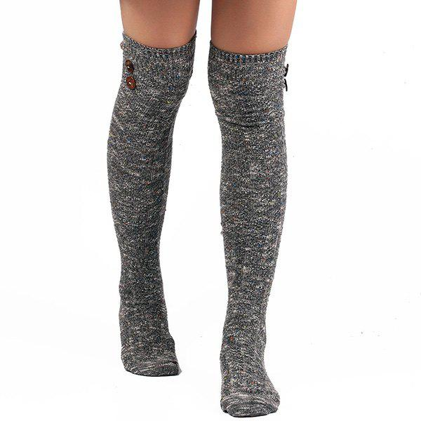 Casual Buttons Snowflake Point Knit StockingsACCESSORIES<br><br>Color: GRAY; Type: Stockings; Group: Adult; Gender: For Women; Style: Fashion; Pattern Type: Striped; Material: Spandex; Length(CM): Heel to edge length:50CM;Foot length:20CM; Width(CM): 9.5CM; Weight: 0.110kg; Package Contents: 1 x Stockings(Pair);