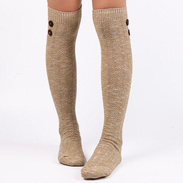 Casual Buttons Snowflake Point Knit StockingsACCESSORIES<br><br>Color: LIGHT KHAKI; Type: Stockings; Group: Adult; Gender: For Women; Style: Fashion; Pattern Type: Striped; Material: Spandex; Length(CM): Heel to edge length:50CM;Foot length:20CM; Width(CM): 9.5CM; Weight: 0.110kg; Package Contents: 1 x Stockings(Pair);