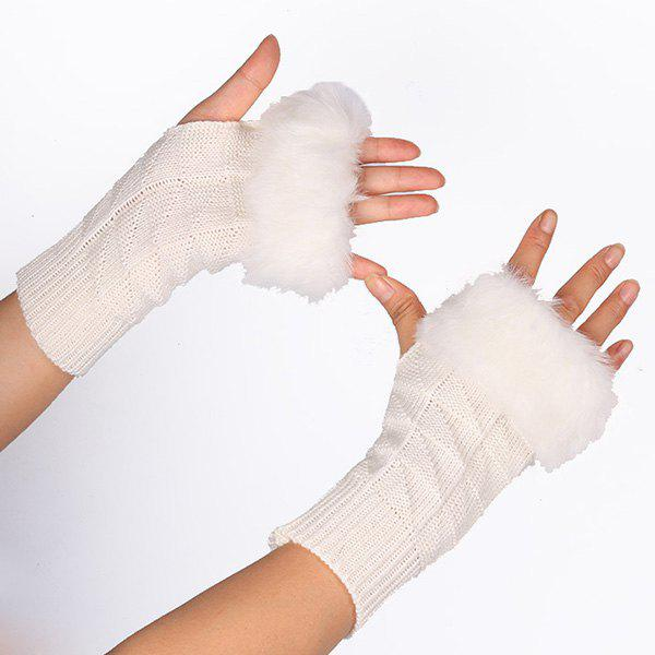 Latest Casual Faux Fur Edge Plaid Knit Fingerless Gloves