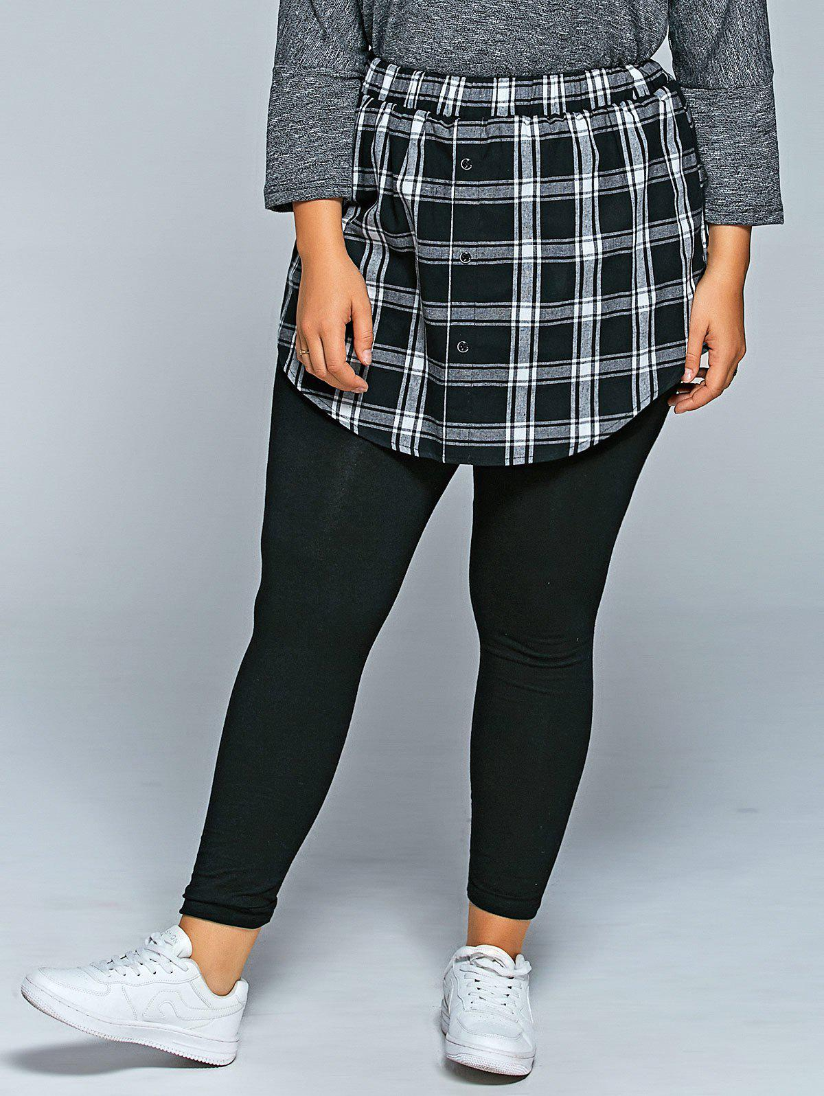Store Slimming Plaid Faux Twinset Pants