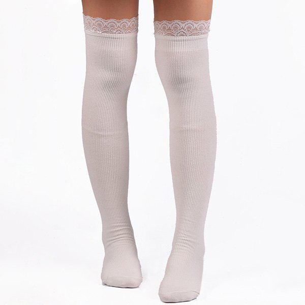 Unique Casual Lace Edge Knit Stockings