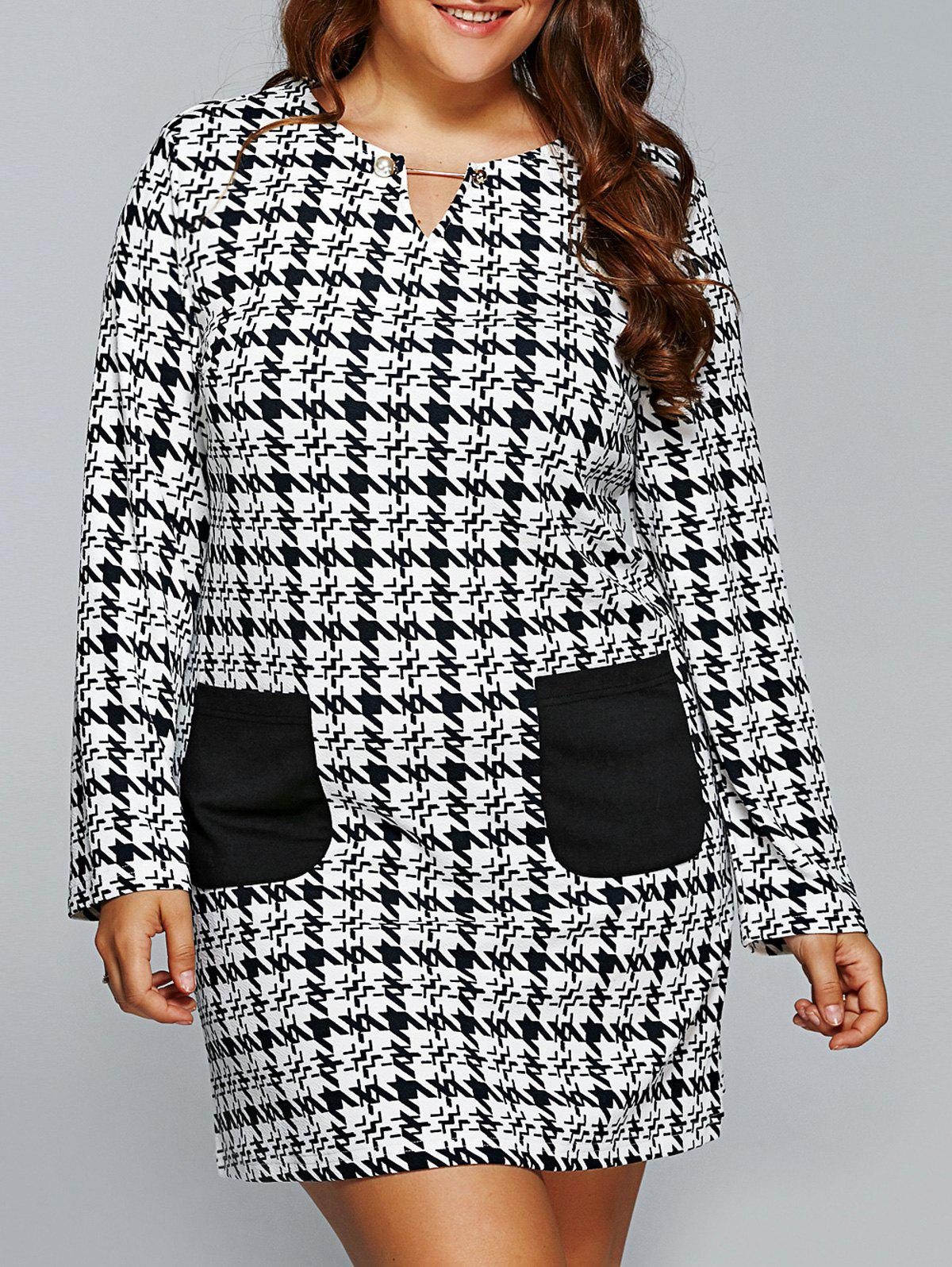 Discount Houndstooth Long Sleeve Shift Tunic Dress