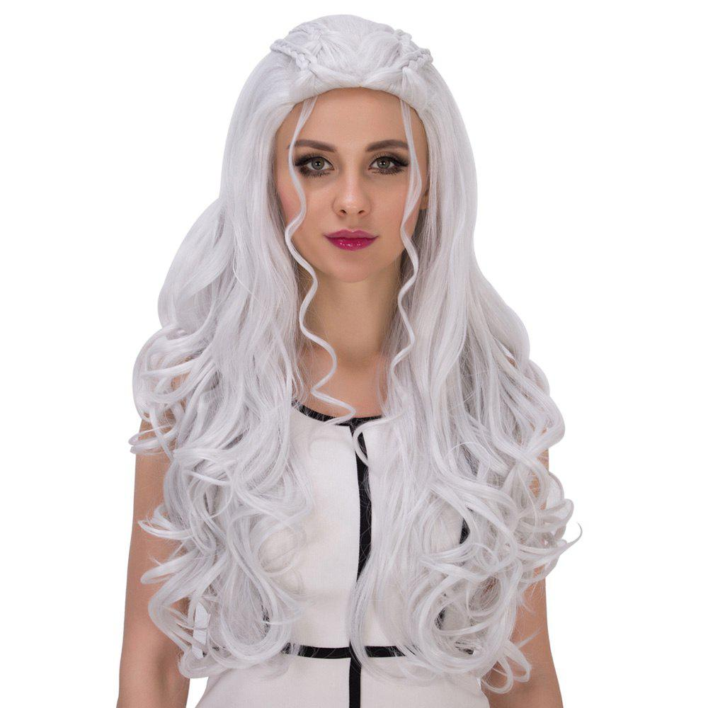 Silver White Long Shaggy Wavy Cosplay Synthetic Wig ...