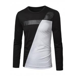 Crew Neck PU-Leather Splicing Color Block T-Shirt - Black - M