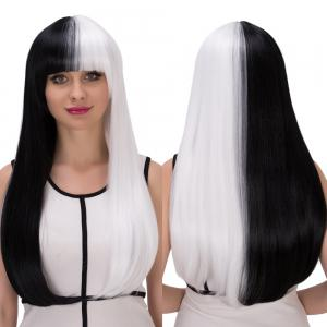 Long Full Bang Straight Tail Adduction Double Color Cosplay Synthetic Wig - White And Black
