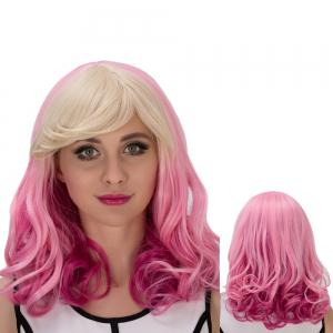 Fascinating Pear Flower Colored Medium Side Bang Wavy Cosplay Synthetic Wig