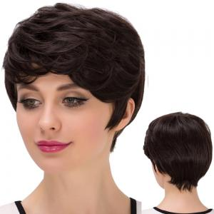 Short Layered Oblique Bang Straight Synthetic Wig