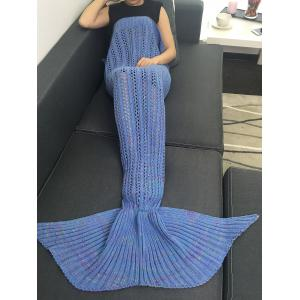 Hollow Out Crochet Knitting Mermaid Tail Style Blanket - Blue - W31.50inch*l70.70inch