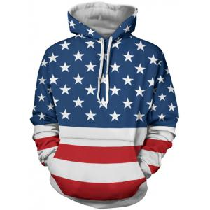 Stars and Stripes Pattern Long Sleeve Hoodie