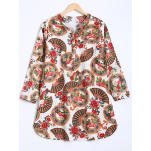 Ethnic Floral Print Buttoned Dress
