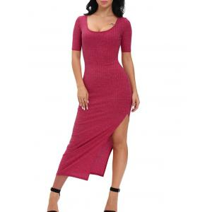 Ribbed Slit Midi Club Bodycon Dress