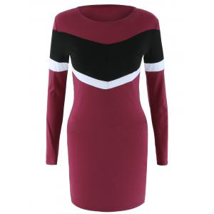 Long Sleeve Color Block Bodycon Dress - Wine Red - Xl
