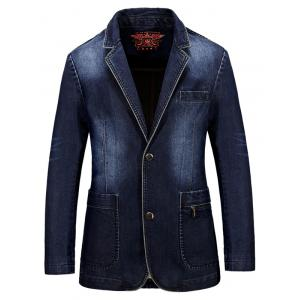 Lapel Single-Breasted Bleach Wash Vintage Denim Coat - Deep Blue - M