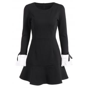 Vintage Openwork Flounced Long Sleeve Skater Dress