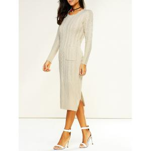 Longline Jumper Dress with Pockets - Off-white - One Size