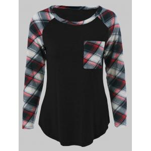 Plus Size One Pocket Plaid Long Sleeve T-Shirt - Black - 2xl