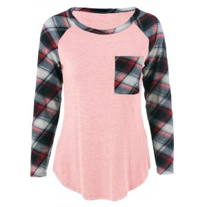 Plus Size One Pocket Plaid Long Sleeve T-Shirt - Shallow Pink - Xl
