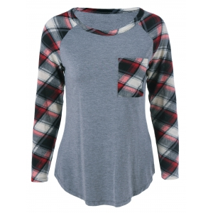 Plus Size One Pocket Plaid Long Sleeve T-Shirt - Gray - 3xl