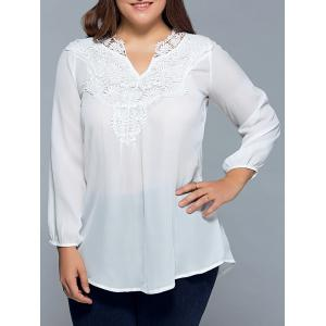 Plus Size Lace Insert Chiffon Blouse - White - L