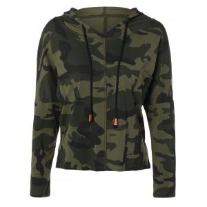 Pocket Drawstring Army Camouflage Hooded T-Shirt - Army Green - S