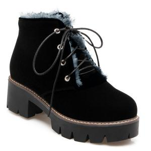 Chunky Heel Lace-Up Short Boots - Black - 38