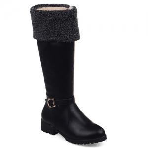 Buckle Faux Shearling Mid-Calf Boots - Black - 37