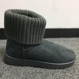 Flock Knitted Slip On Snow Boots