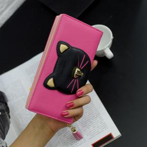 Cat Head Pattern Tassels Clutch Wallet - Rose Red - For Iphone 7