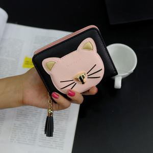 Cat Head Pattern Tassels Bi-Fold Mini Wallet - Black - Xl