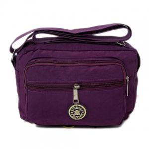 Multi Zips Nylon Crossbody Bag - Purple