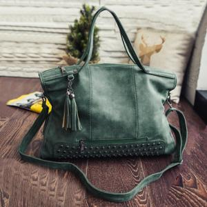 Tassel Rivet PU Leather Tote Handbag - Green - 44