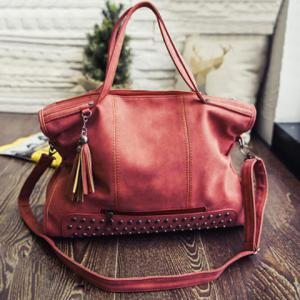 Tassel Rivet PU Leather Tote Handbag - Watermelon Red - 39