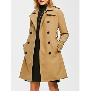 Epaulet Belted Double-Breasted Long Trench Coat