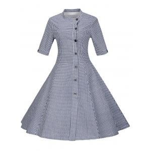 Plaid Buttoned Swing Dress