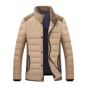 Stand Collar Corduroy Splicing Design Zip-Up Down Jacket