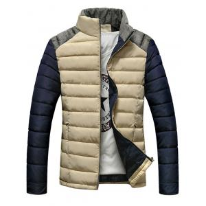 Stand Collar Color Block Splicing Design Zip-Up Down Jacket
