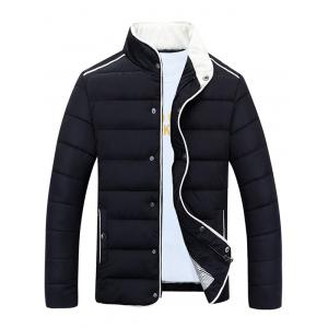 Stand Collar Edging Zip-Up Padded Jacket