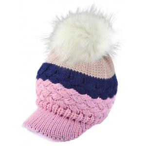 Outdoor Woolen Yarn Ball Color Block Knitted Beanie - Shallow Pink