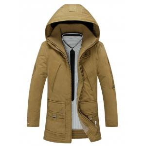Hooded Embroidered Lengthen Double Zipper Down Coat
