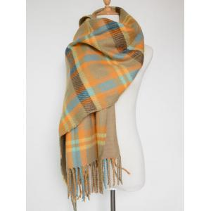 Double Sided Fringe Plaid Scarf