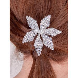 Filigree Faux Crystal Leaf Hair Comb - Silver