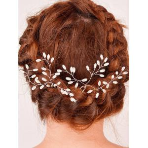 Filigree Faux Pearl Leaf Hairpin - Silver