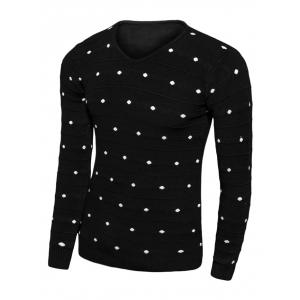 V-Neck Polka Dot Long Sleeve Sweater