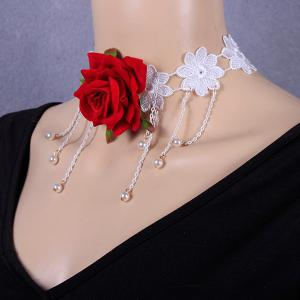 Openwork Tassel Crochet Flower Rose Necklace