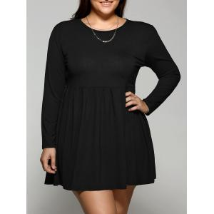 Plus Size Long Sleeve Pleated Skater Dress