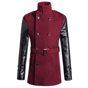 Stand Collar PU Spliced Wool Blend Trench Coat - Wine Red - M