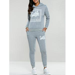 Letter Print Drawstring Hoodie Tracksuit - Light Gray - S