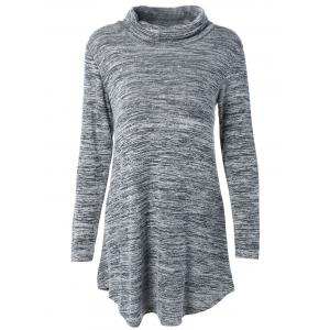 Turtleneck Asymmetric Knitted Tunic Dress - Gray - M