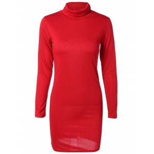 Knit Turtleneck Ribbed Fitted Sweater Dress - Red - M